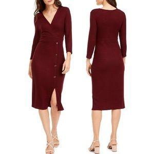 BOGO🆓 Maroon Faux Wrap Button-Front Knit Dress